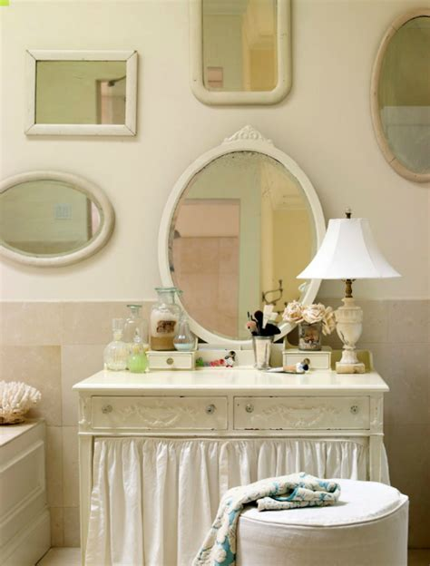 shabby chic white bathroom vanity chinoiserie skirted vanity design ideas