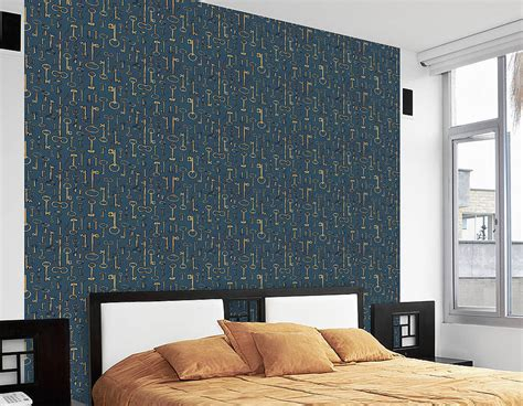 vintage style key  adhesive wallpaper contemporary