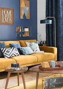 1001 idees creer une deco en bleu et jaune conviviale for Tapis jaune avec canape bleu tissu