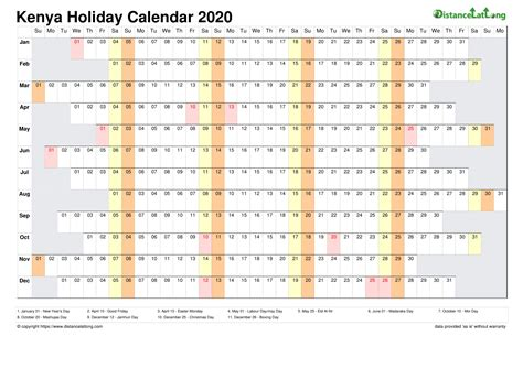 calendar horizontal column  holiday kenya