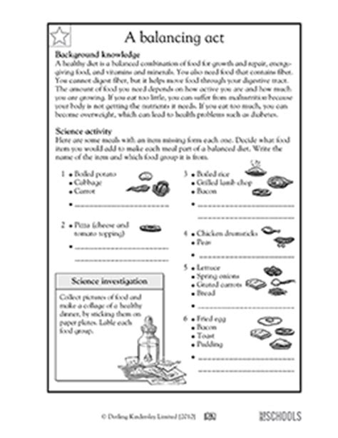 5th grade science worksheets a healthy diet is a balancing act greatschools