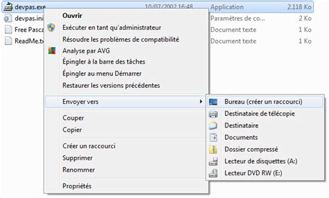 comment installer un raccourci sur le bureau installation de dev pascal en franais sous windows 7