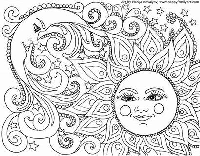 Coloring Pages Moon Sun Fun Happy