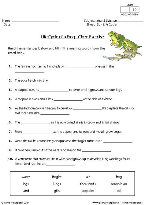 life cycle   frog cloze exercise