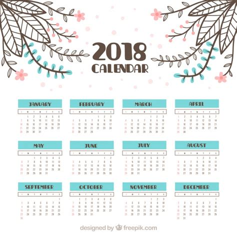 Calendar Month Template Hand by Vintage 2018 Calendar With Hand Drawn Flowers Vector