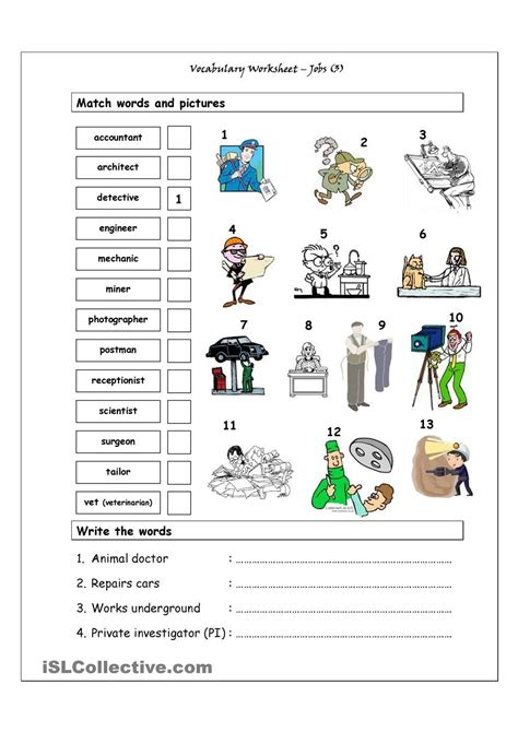 vocabulary matching worksheet jobs  esl educacion