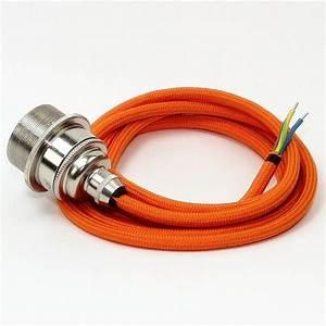 E27 Fassung Metall : textilkabel lampenpendel orange mit e27 vintage metall fassung nickel ~ Orissabook.com Haus und Dekorationen