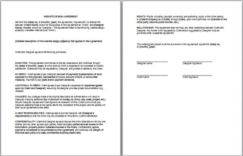 Contract Template Website Agreement Contract Free Printable Documents