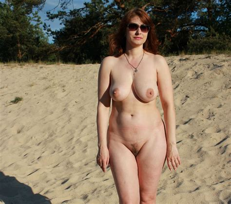 Russian Mature Wife With Big Boobs Posing Outdoors