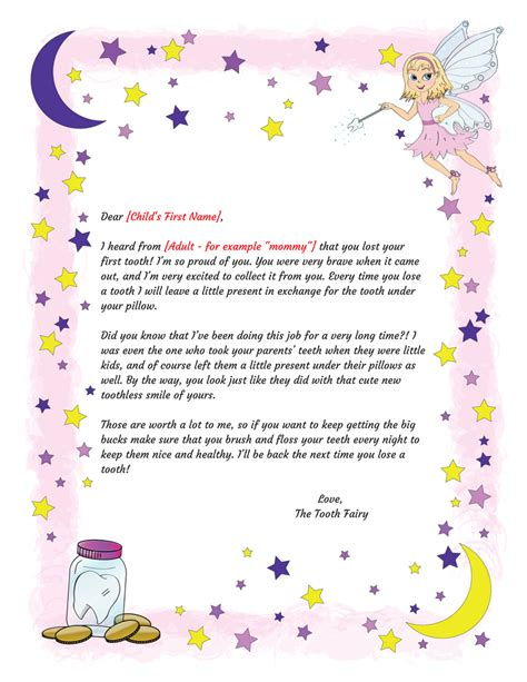 tooth fairy letter  tooth printable intended