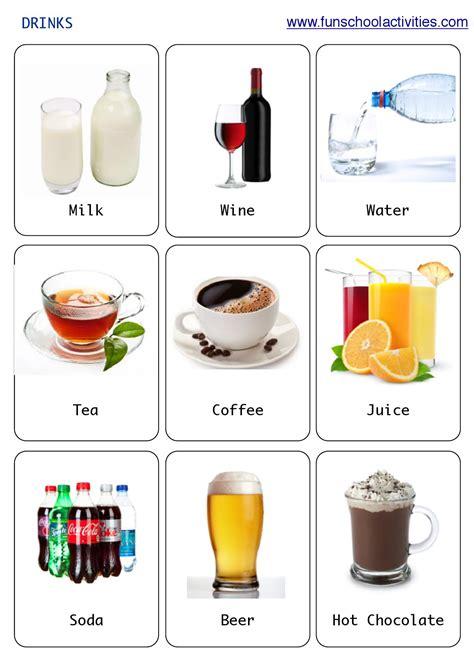 Printable Drinks Flashcards  Vocabulary  Pinterest  English, Vocabulary Ve English Vocabulary