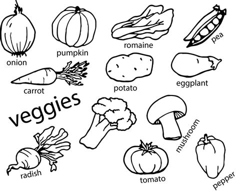 Coloring Vegetable by Vegetables Coloring Page Wecoloringpage
