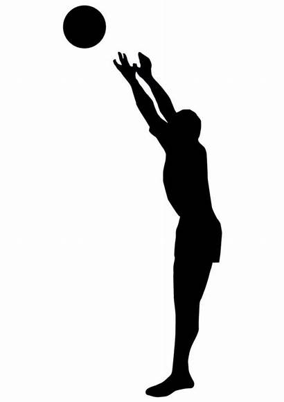 Volleyball Silhouette Clipart Ball Volley Wall Sports