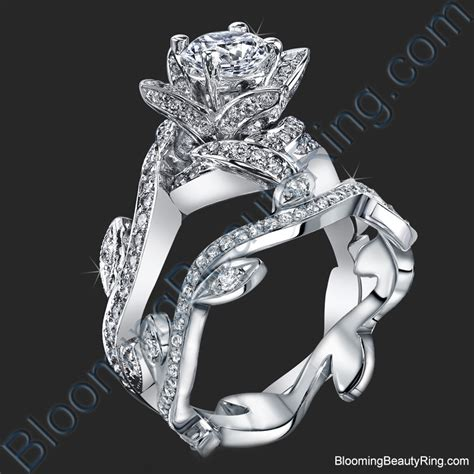 Lotus Ring With Leaves 122 Ctw Diamond Flower Engagement