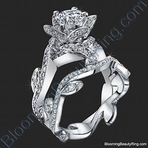 lotus ring with leaves 122 ctw diamond flower engagement With flower wedding rings