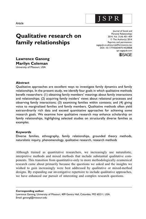 qualitative research  family relationships