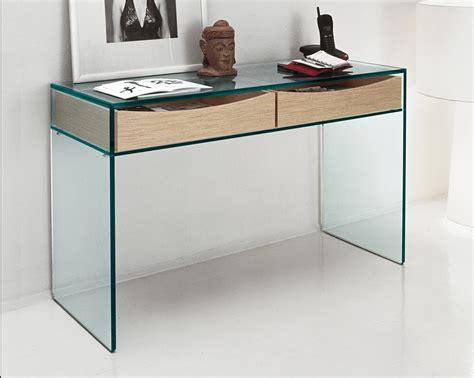 Tonelli Gulliver Clear Glass Deskconsole Table  Glass Desks