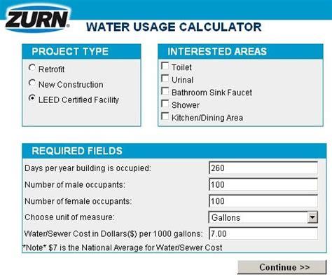 real life leed   leed water  calculator