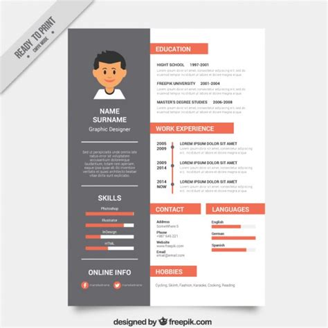 Graphic Resume Templates Free by Graphic Designer Resume Template Vector Free
