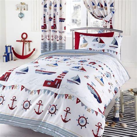 Nautical White Boats Sea Ships Single Duvet Cover Bedding