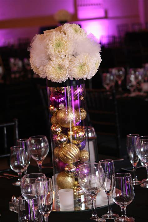 beautiful ideas for purple and gold wedding centerpieces