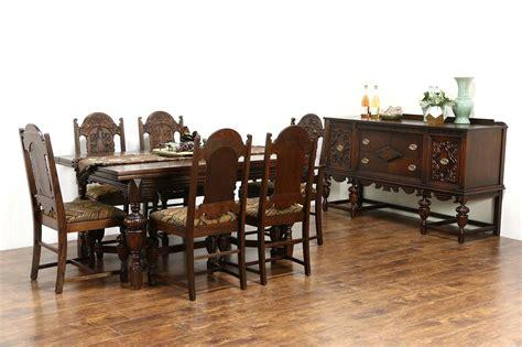 english tudor  antique oak dining set table  chairs