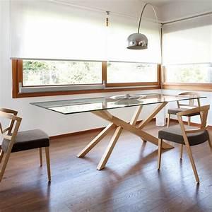 Table Plateau Bois : table design en verre et pieds bois tree domitalia 4 pieds tables chaises et tabourets ~ Teatrodelosmanantiales.com Idées de Décoration