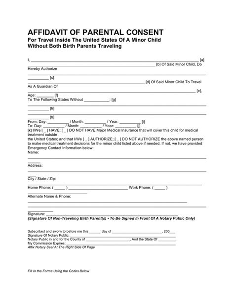 affidavit of consent form affidavit of parental consent for travel in word and pdf