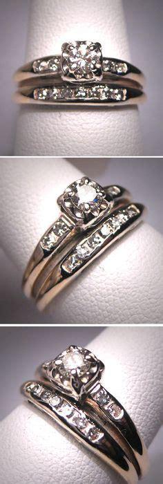 vintage wedding rings set cute  illusion head