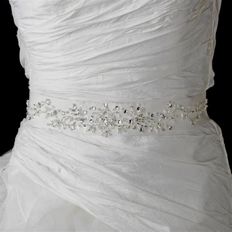 beaded wedding sash bridal belt  white