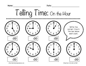 telling time on the hour worksheets k 3rd grade by in the name of jesus