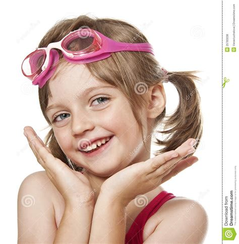 Portrait Of Little Girl With Pink Swim Glasses Royalty