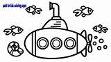 Underwater Drawing Submarine Coloring Children Draw Sea sketch template