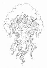 Tattoo Third Yggdrasil Wyrd Tree Coloring Pages Adult Printable Drawing Sketch Cool Celtic Sketches Twisted Adults Roots Norse Pretty Trees sketch template