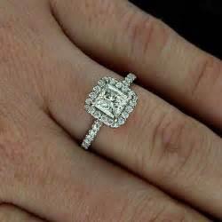 halo princess cut engagement ring halo engagement ring princess cut setting and wedding band orospot jewelry on artfire