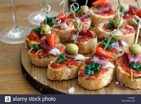 cuisine canapé pinchos tapas canapes finger food stock