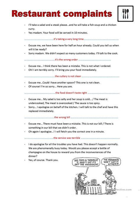 restaurant complaints worksheet  esl printable