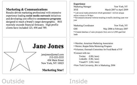 resume business card for hire