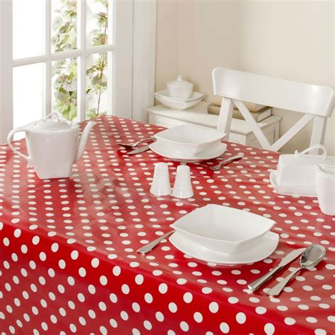 Red And White Spotty Pvc Table Cloth From Dunelm Mill
