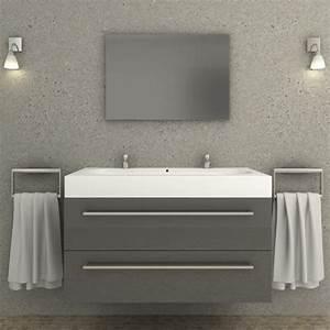 Meuble Salle De Bain Gris : ensemble meuble salle de bain aqua gris ~ Preciouscoupons.com Idées de Décoration