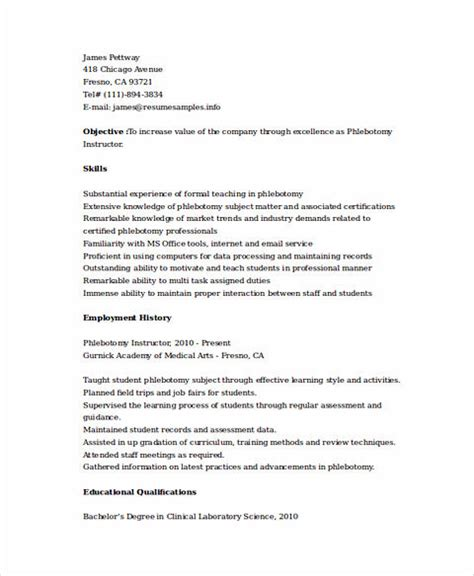 Phlebotomy Resume by Phlebotomy Resume Sle And Tips