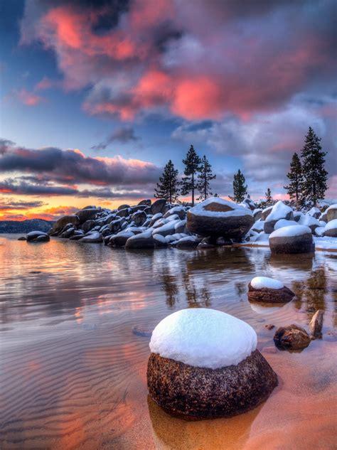 snowy lake tahoe sunset   year
