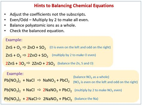 how to balance chemical equations solutions exles