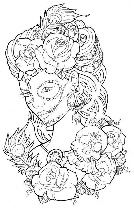 Beautiful sugar skull maiden colouring page | Zentangles