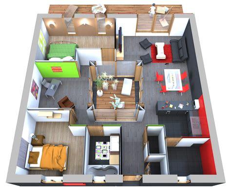 Plan D Une Maison En 3d Plan De Maison 90m2 3d