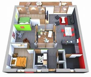 Plan Interieur Maison : plan de maison 90m2 3d ~ Melissatoandfro.com Idées de Décoration