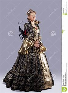 Pretty Girl In Carnival Costume Middle Age Stock