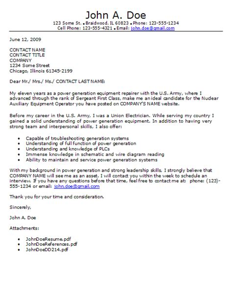 sample cover letter cover letter examples military