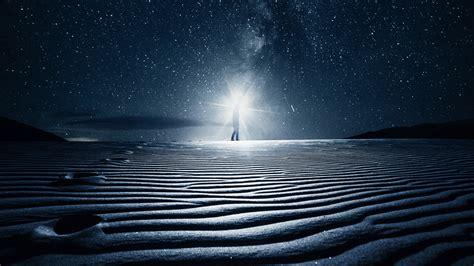 wallpaper  starry sky dream light desert dunes