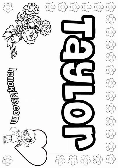 Taylor Coloring Pages Names Hellokids Girly